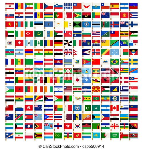 wereld, vlag, set, iconen - csp5506914