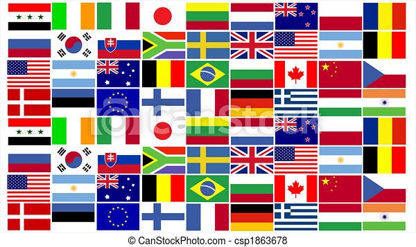 wereld, vlaggen, gecombineerd - csp1863678