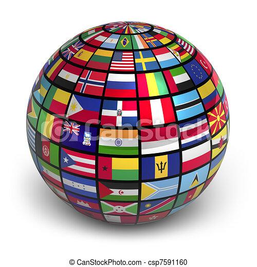 wereldbol, vlaggen - csp7591160