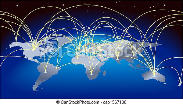 wereldhandel, achtergrond, kaart - csp1567106