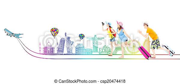 wereldwijd, backpackers, reizen, jonge, samen, gaan, vrolijke  - csp20474418
