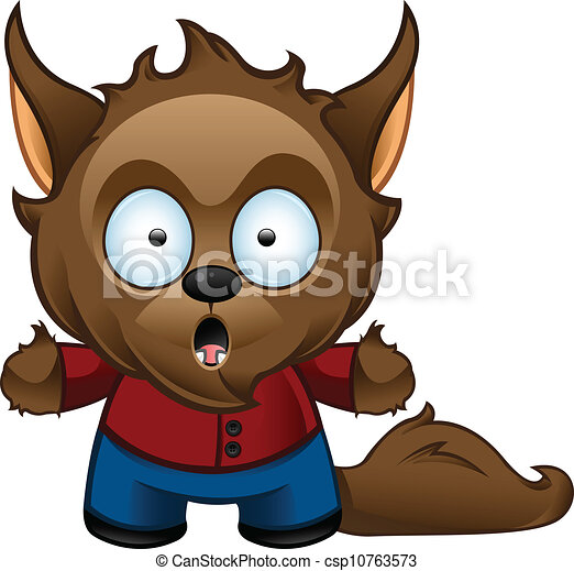 werewolf monster shocked a cute vector illustration of a rh canstockphoto com werewolf clipart free werewolf face clipart