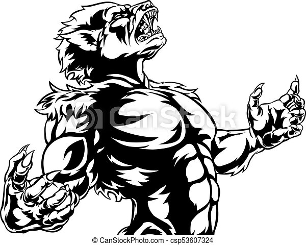Line Drawing Monster : Werewolf scary horror monster wolf man vector
