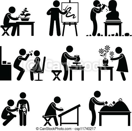 werk, werken, kunst, artistiek, beroep - csp11740217