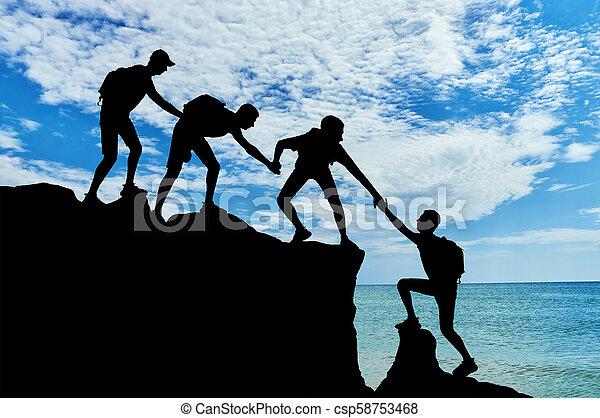 werken, scène, bergbeklimmers, team, conceptueel, mannelijke  - csp58753468