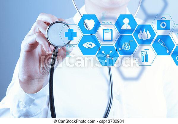 werkende , arts, moderne, hand, geneeskunde, computer, interface - csp13782984