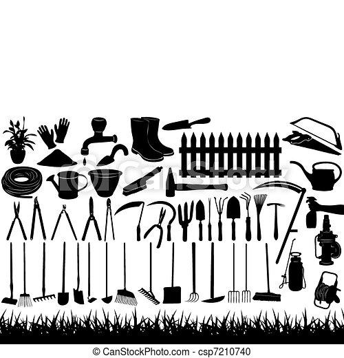 werkzeuge, gartenarbeit, abbildung - csp7210740