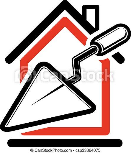Haus bauen clipart  Vektoren Illustration von werkzeuge, plastering., klassisch, haus ...