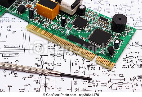 Werkzeuge, präzision, diagramm, elektronik, gedruckten kreislauf ...