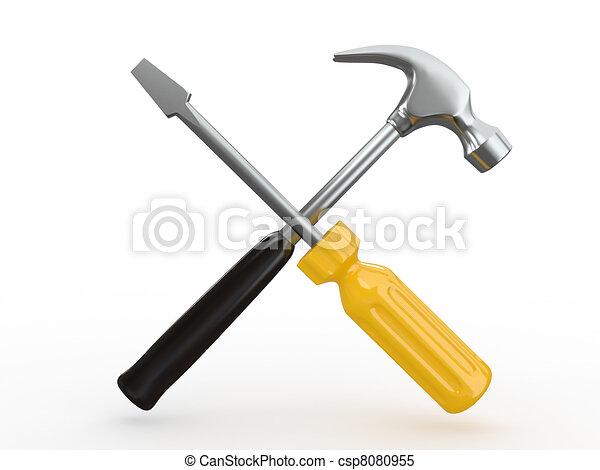 Werkzeuge, schraubenzieher, utility., hammer. Werkzeuge ...