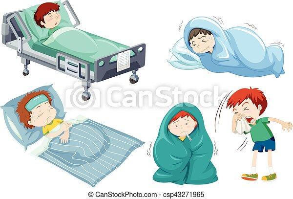 Wesen Kinder Krankes Bett Wesen Kinder Bett Abbildung Krank