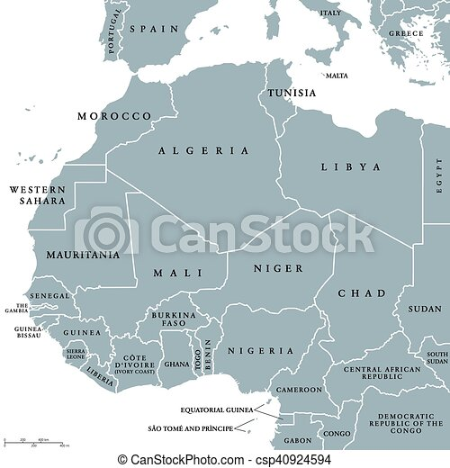 West Africa Countries Political Map With National Borders English