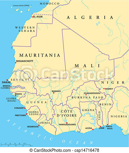 Map Of West Africa With Capitals.West Africa Map
