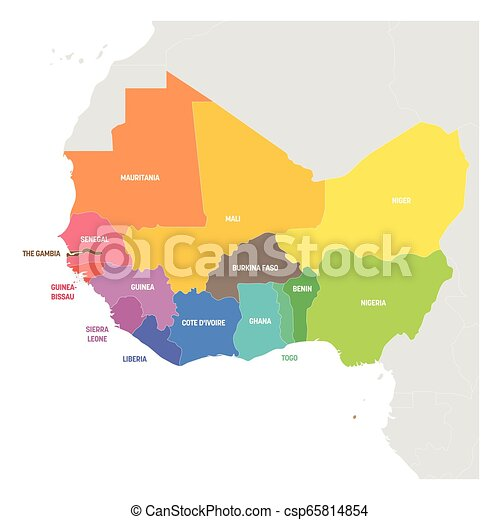 Colorful Map Of Africa.West Africa Region Colorful Map Of Countries In Western Africa Vector Illustration