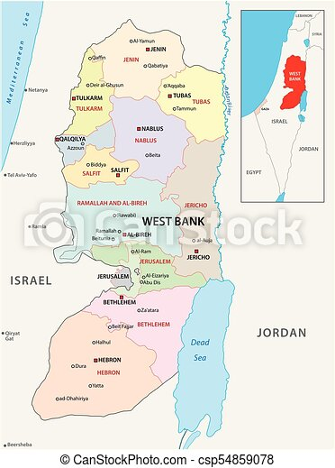 West bank administrative and political vector map vectors