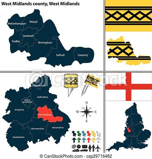 West Midlands County West Midlands Uk Vector Map Of West Midlands