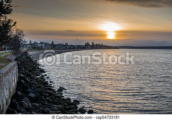 West Seattle Sunset 4 - csp54703181