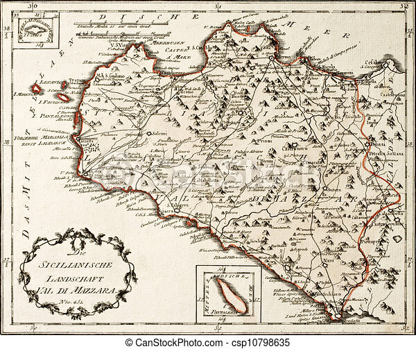 West Sicily Old Map Antique German Map Of West Sicily