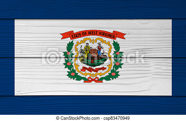 West Virginia flag color painted on Fiber cement sheet wall background. A pure white field bordered on four sides by a stripe of blue with the coat of arms of West Virginia in the center. - csp83470949