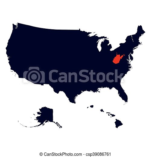 West Virginia State in the United States map