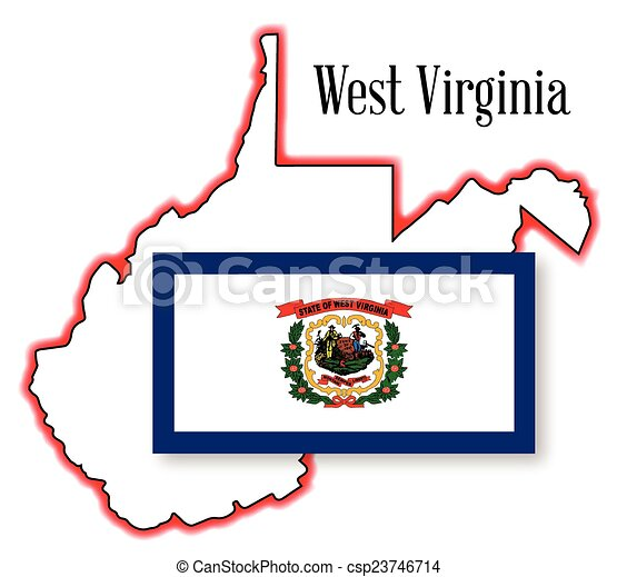 west virginia state map and flag vector