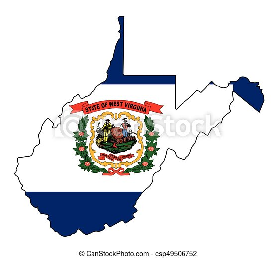 west virginia state outline map and flag vector