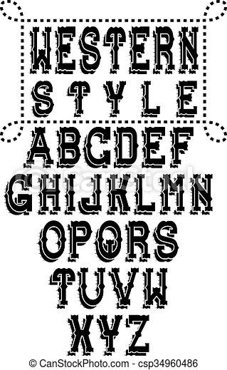western alphabet - csp34960486