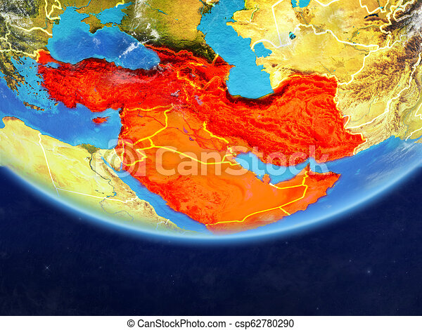 Western Asia from space on Earth - csp62780290