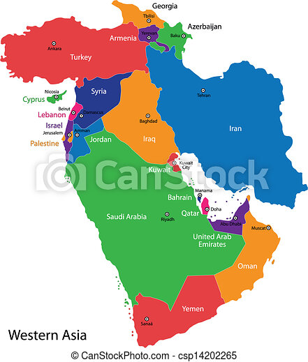 Western Asia Map Color Map Of Western Asia Divided By The Countries