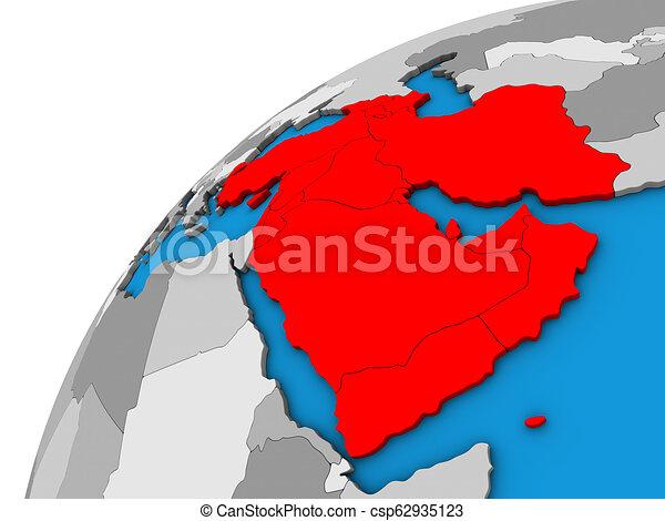 Western Asia on 3D globe - csp62935123