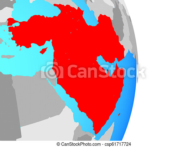 Western Asia on globe - csp61717724