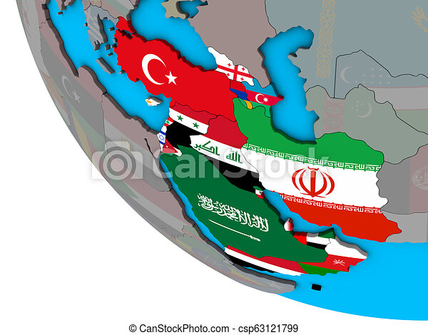 Western Asia with flags on 3D globe - csp63121799
