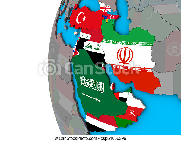 Western Asia with flags on 3D globe - csp64656396