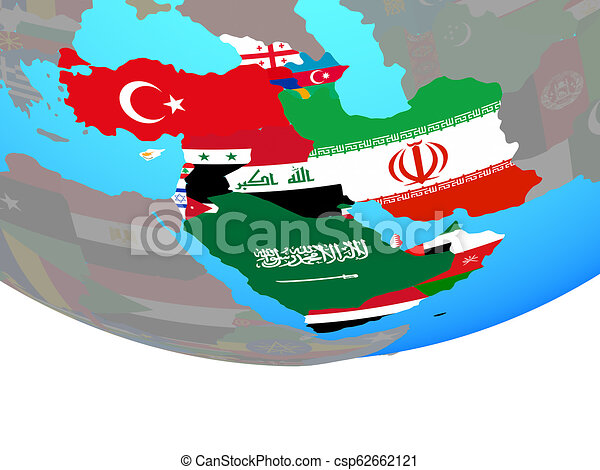 Western Asia with flags on globe - csp62662121