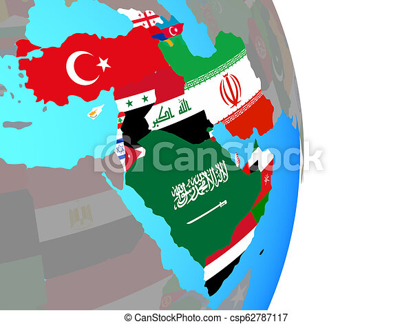 Western Asia with flags on globe - csp62787117