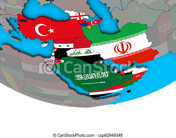 Western Asia with flags on globe - csp62949348