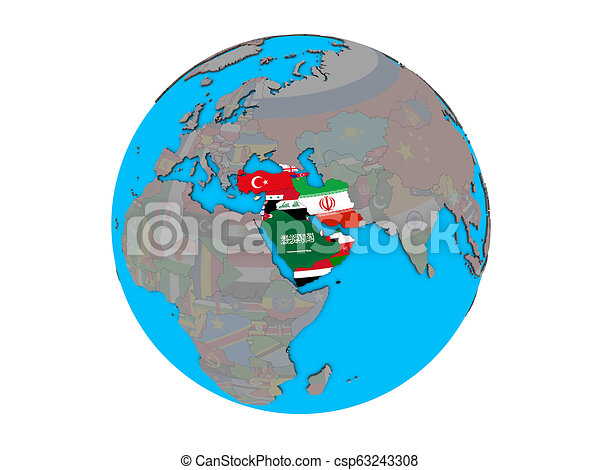 Western Asia with flags on globe isolated - csp63243308