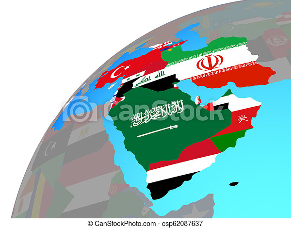 Western Asia with flags on globe - csp62087637