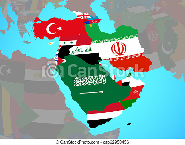 Western Asia with flags on map - csp62950456