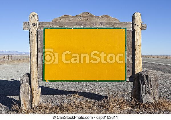 Western Blank Highway Message Sign - csp8103611