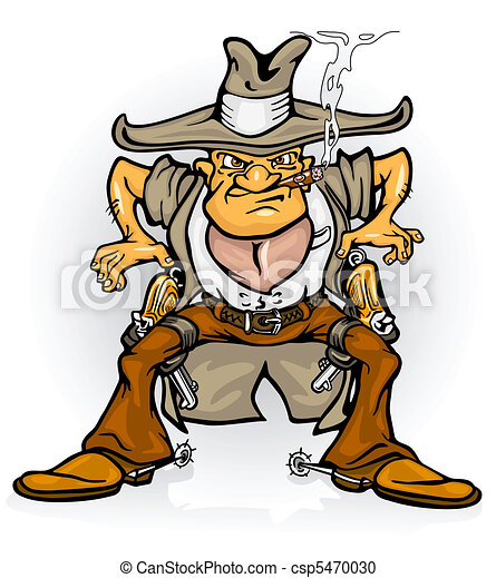 Western cowboy bandit with gun vector illustration ...