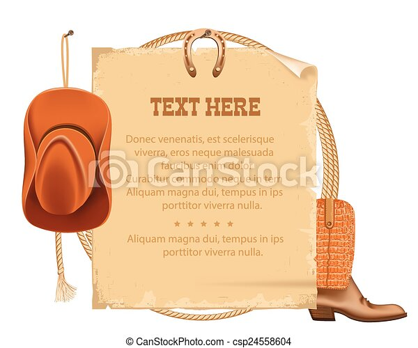western cowboy hat and american lasso.Vector old paper for text -  csp24558604 3eb2edf3a446