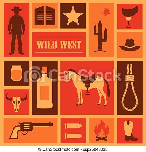 western cowboy illustration, - csp25043335