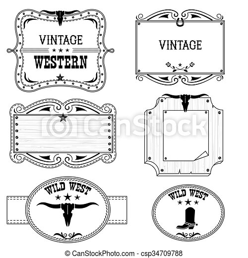 Western cowboy labels isolated on white for design. Western vintage ...