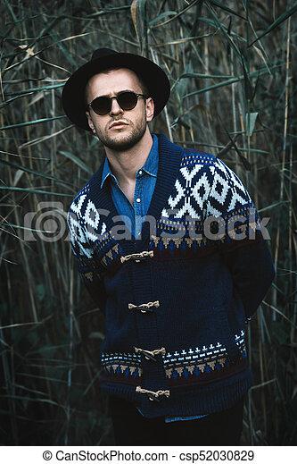 Western denim style. Autumn fashion. portrait of a handsome man ... c92de689cf2b
