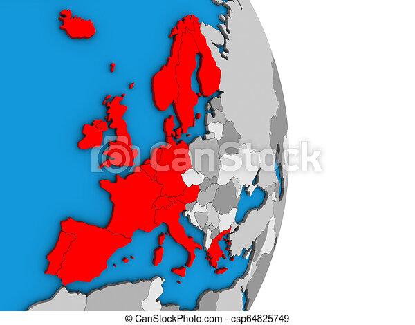 Western Europe on 3D globe - csp64825749
