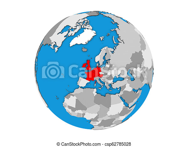 Western Europe on 3D globe isolated - csp62785028