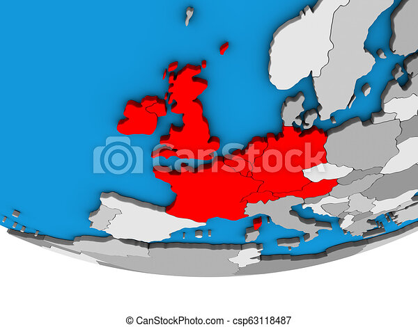 Western Europe on 3D globe - csp63118487