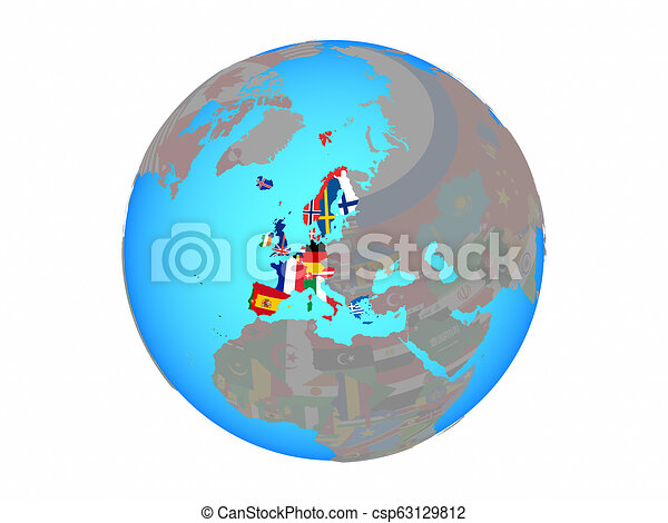 Western Europe with flags on globe isolated - csp63129812