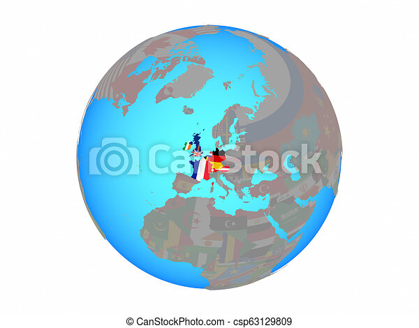 Western Europe with flags on globe isolated - csp63129809